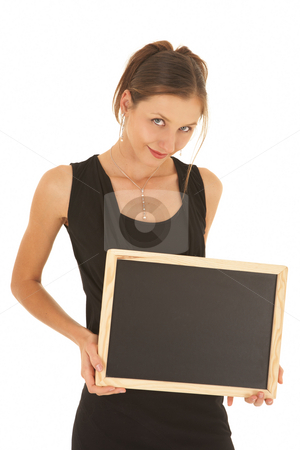 Young caucasian businesswoman stock photo, Young adult brunette businesswoman in a black office outfit on a white background, holding an empty blackboard by Sean Nel
