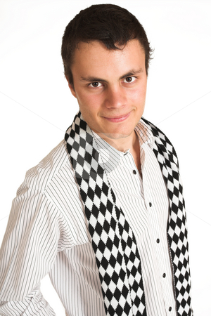 Franscois Booysen #3 stock photo, Man with white pinstripe shirt and scarf. by Sean Nel