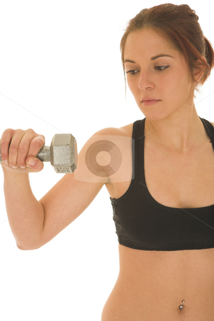 Gymbunny #29 stock photo, Brunette with black top with weights by Sean Nel