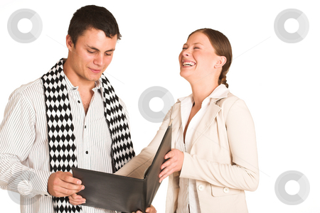 Business People #35(FG) stock photo, Two business partners: one woman and one man.  Lauging. by Sean Nel