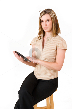 Felicity Calitz #11 stock photo, Business woman with calculator, sitting on chair by Sean Nel