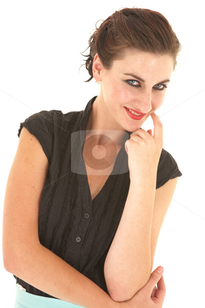 Sexy brunette businesswoman stock photo, Sexy young adult Caucasian businesswoman in a tight black sexy blouse on a white background. by Sean Nel