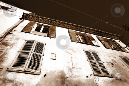 Buildings in Aix-en-provence stock photo, Building with shutters on windows in Aix-en-provence, France. by Sean Nel