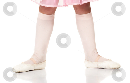 Ballet Feet Positions stock photo, Young female ballet dancer showing various classic ballet feet positions on a white background - Beginner 2nd position. NOT ISOLATED by Sean Nel