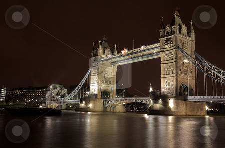 Tower Bridge #5 stock photo, The bascule Tower bridge in London, Night Scene over the Thames by Sean Nel
