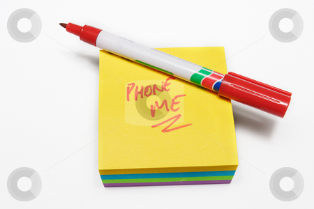 Notepad #12 stock photo, Red fiber tipped pen and sticky pad note by Sean Nel
