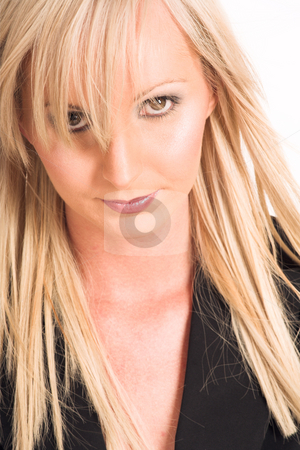 Business Woman #318 stock photo, Blond business woman dressed in a black shirt.  Portrait. by Sean Nel