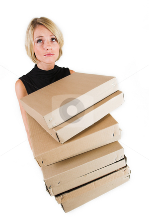 Business Lady #18 stock photo, Blond Business woman carrying boxes by Sean Nel