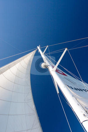 Boat #3 stock photo, White Yacht sail and radio mast - Copy Space by Sean Nel