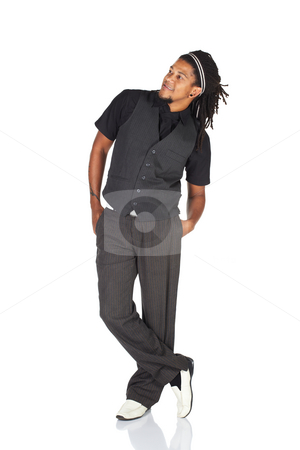 Handsome African businessman stock photo, Handsome African businessman with long hair in black informal suit on white background. NOT ISOLATED by Sean Nel