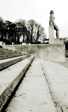 Paris #12 stock photo, Stairs and statue in Paris, France. Sepia tone, Copy space. by Sean Nel