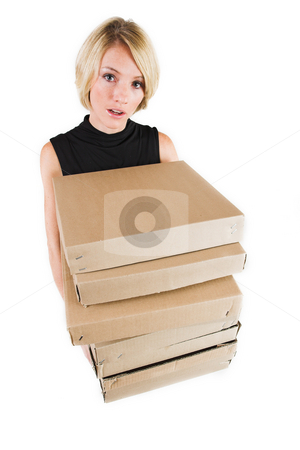 Business Lady #17 stock photo, Blond Business woman carrying boxes by Sean Nel