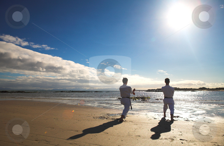 Men practicing Karate on the beach stock photo, Young adult men with black belt practicing a Kata on the beach on a sunny day. Sunspots and flare from direct sunlight visible by Sean Nel