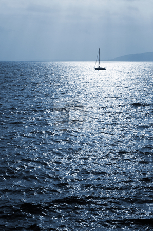 StRaphael #9 stock photo, Single sailboat on the Mediterranean Sea  by Sean Nel