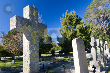 Graves #4 stock photo, Old stone Grave in the shape of a cross at the Belvedere Church, Knysna, South Africa by Sean Nel
