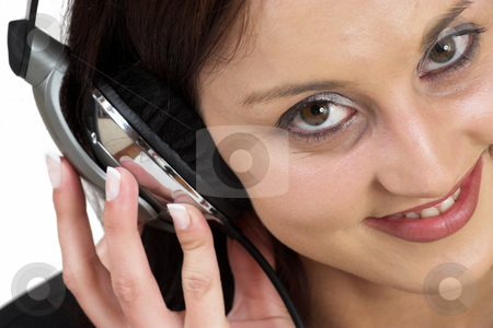 Music #13 stock photo, Woman with earphones by Sean Nel