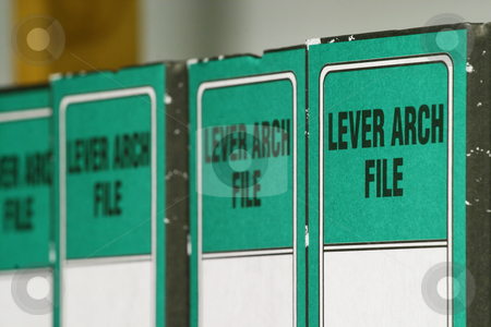 Green files stock photo, Lever arch files by Sean Nel