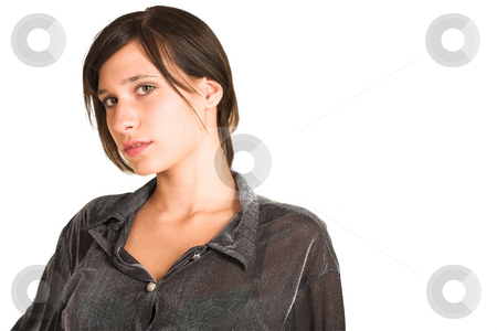 People #26 stock photo, Woman dressed in a smart shirt.    Copy space. by Sean Nel