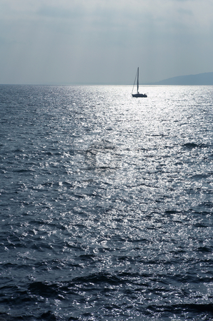 StRaphael #8 stock photo, Single sailboat on the Mediterranean Sea  by Sean Nel
