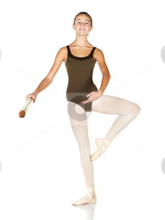 Young Ballet Dancer stock photo, Young female ballet dancer showing various classic positions on a white background, at barre - Retire, retere. NOT ISOLATED by Sean Nel