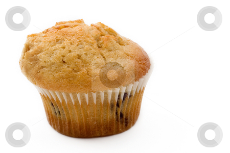 Food #14 stock photo, A single Bran and Blueberry muffin on a white background by Sean Nel