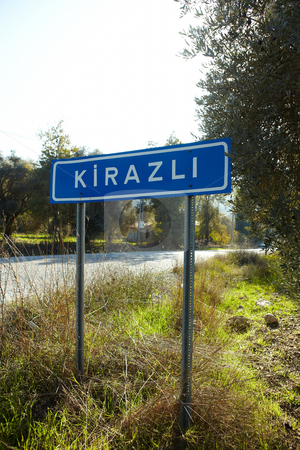 Road sign Kirazli stock photo, The road sign for the small Turkish Village of Kirazli in Aydin, Turkey. The first eco-village in Turkey by Sean Nel