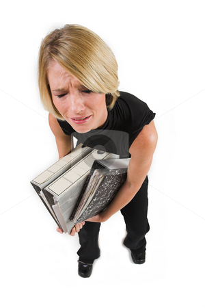 Business Lady #39 stock photo, Blond Business woman carrying files - Eyes Closed, crying by Sean Nel