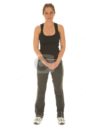Gymbunny #2 stock photo, Brunette with black top and trainers by Sean Nel