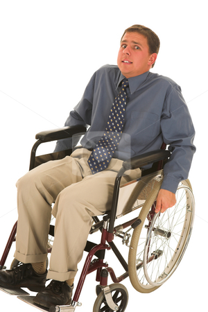 Businessman #127 stock photo, Man sitting in wheelchair. by Sean Nel