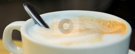 Coffee Cup #1 stock photo, Panoramic of Cappuccino Coffee and spoon - Shallow DOF, focus on Foam by Sean Nel