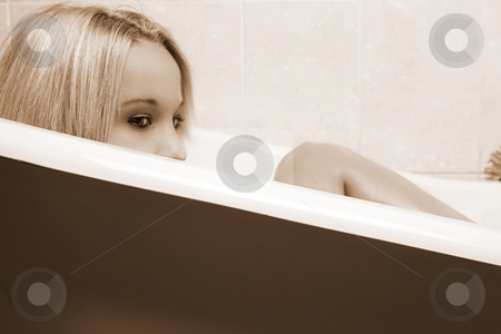 Woman #161 stock photo, Nude woman in a bath. by Sean Nel