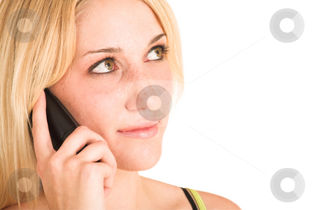 Businesswoman #460 stock photo, Blonde business lady in an informal green top. Talking on a telephone.  Copy space. by Sean Nel