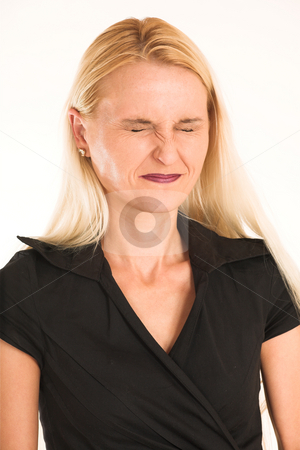 Business Woman #376 stock photo, Blond business woman, dressed in a black clothes.   Eyes closed. by Sean Nel