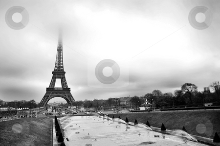 Paris #34 stock photo, The Eiffel Tower in Paris, France. Black and white - Copy space. by Sean Nel