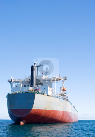Ship #2 stock photo, White and red oil tanker - copy space by Sean Nel