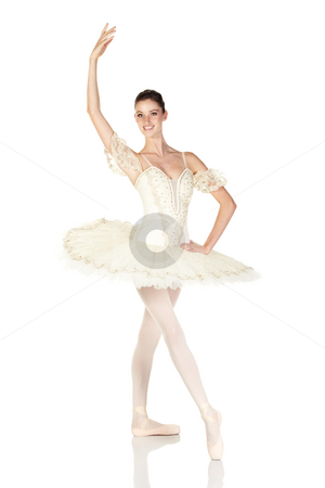 Young caucasian ballerina stock photo, Young caucasian brunette ballerina girl on white background and reflective white floor showing various ballet steps and positions. Not Isolated by Sean Nel