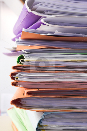 Filing cabinet #6 stock photo, Heap of coloured files by Sean Nel