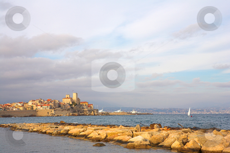 Antibes #84 stock photo, A town overlooking the sea in Antibes, France.  Copy space. by Sean Nel