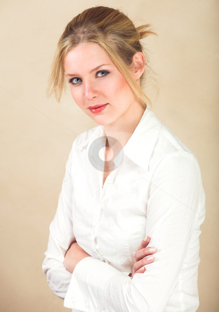 Young adult woman stock photo, Portrait of a beautiful young adult Caucasian woman with light skin and straight blond hair, green eyes and red lips, wearing a white shirt by Sean Nel