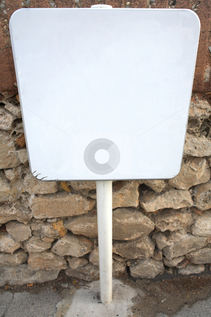 White sign #01 stock photo, White sign in front of a wall by Sean Nel