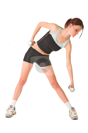 Gym #150 stock photo, Woman dressed in gym wear, working out with weights. by Sean Nel