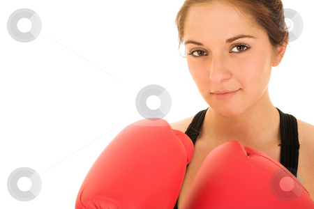 Sexy brunette fitness woman stock photo, Sexy young adult Caucasian woman in a black training wear with boxing gloves. NOT ISOLATED by Sean Nel