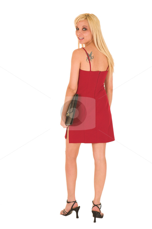 Sexy blonde businesswoman stock photo, Sexy young adult Caucasian businesswoman in a short red dress with a black leather folder on a white background by Sean Nel
