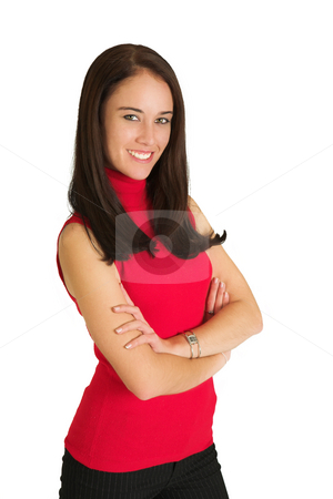 Business Woman #534 stock photo, Portrait of a brunette business woman, standing with her arms folded, smiling by Sean Nel