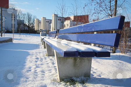Munich #11 stock photo, Bench covered in snow in a park in Munch. by Sean Nel
