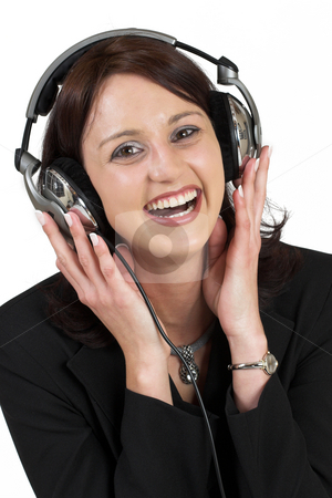 Music #9 stock photo, Woman with earphones by Sean Nel