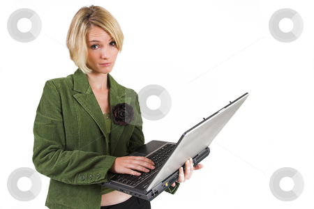 Business Lady #12 stock photo, Blond Business woman with notebook computer by Sean Nel