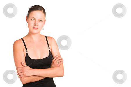 Business Woman #42 stock photo, Business woman dressed in black top.  copy space by Sean Nel