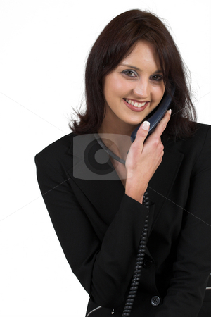 Business Lady #63 stock photo, Business woman with blue telephone by Sean Nel