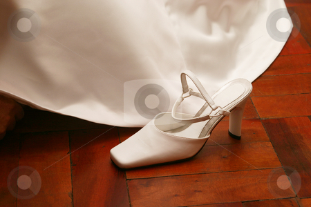 Bridal shoe stock photo, White satin shoe by Sean Nel